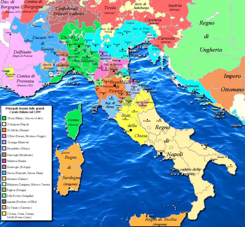 Mappa d'Italia durante la Guerra della Lega di Cambrai (I territori di colore azzurro sono della Repubblica di Venezia) - www.irog.it