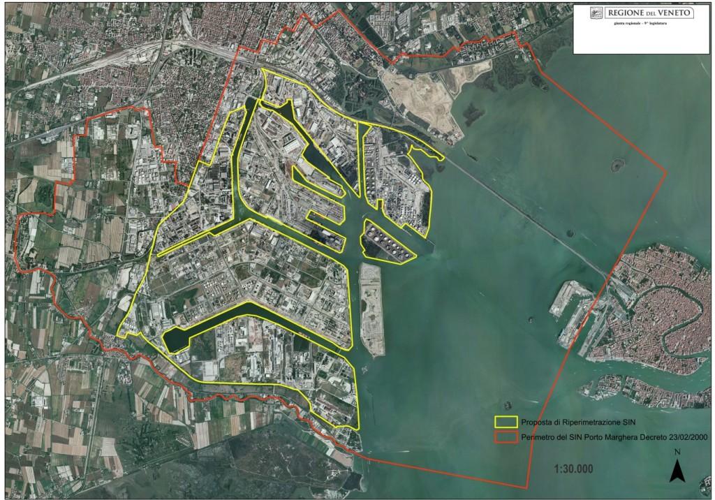 Mappa del SIN (Sito di Bonifica di Interesse Nazionale) di Porto Marghera - foto: http://www.arpa.veneto.it - www.irog.it