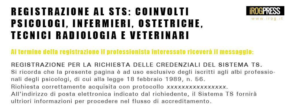 REGISTRAZIONE AL STS: COINVOLTI PSICOLOGI, INFERMIERI, OSTETRICHE, TECNICI RADIOLOGIA E VETERINARI - www.irog.it