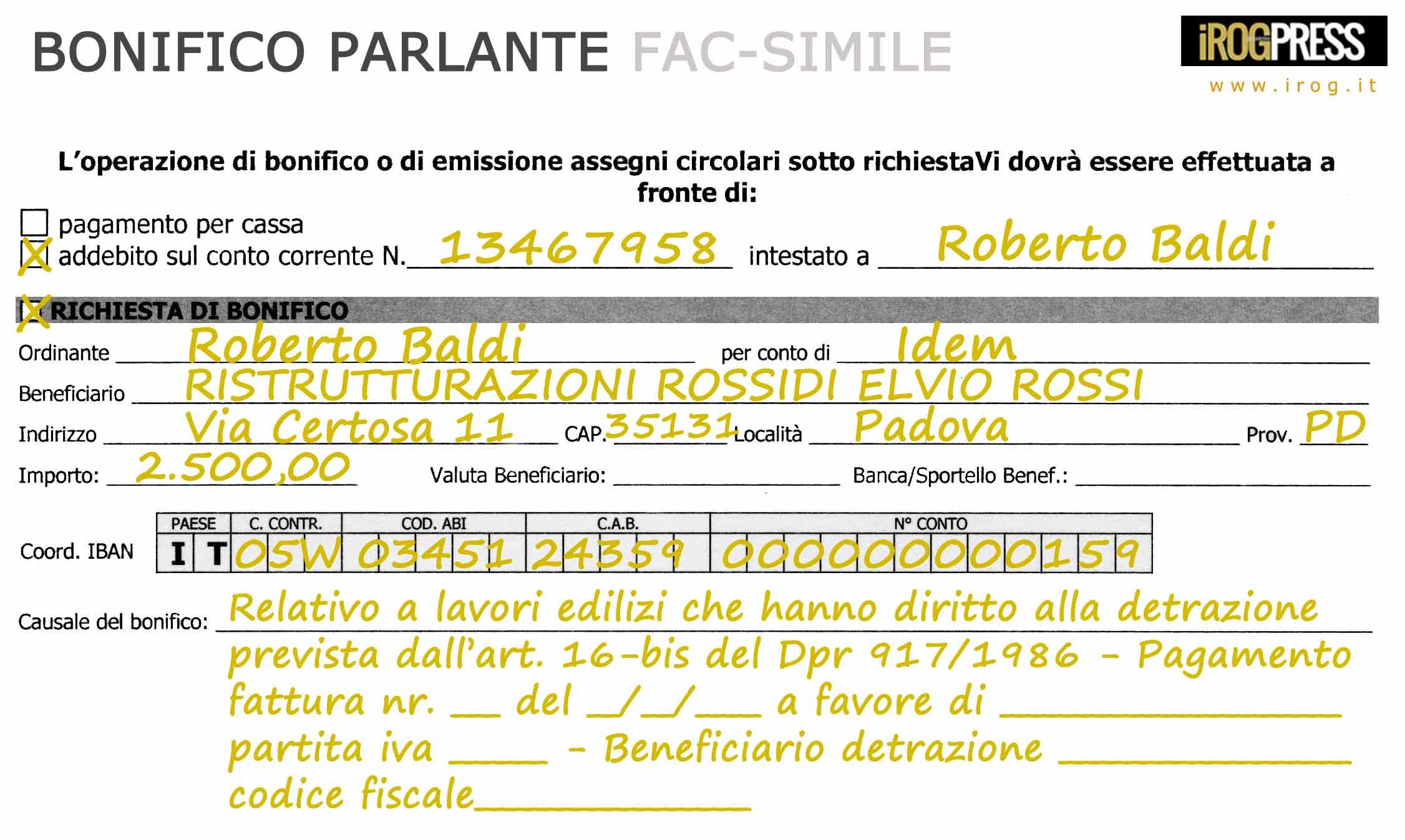 Detrazione ristrutturazioni bonifico parlante e regole di for Causale bonifico ristrutturazione 2017